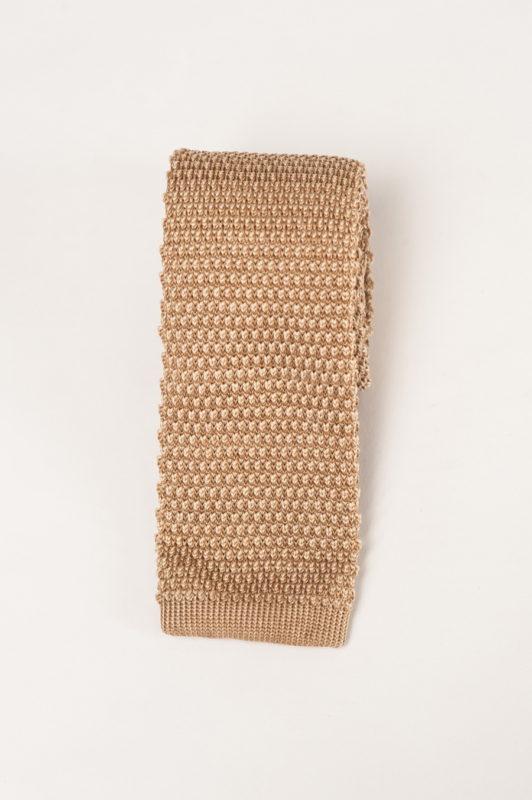 Бежевый вязаный галстук . Арт.:10-38