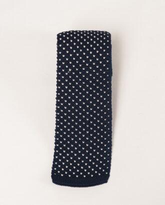 Синий вязаный галстук с мелким рисунком. Арт.:10-39