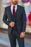 Стильный мужской костюм тройка темно-синего цвета. Арт.:4-577-1