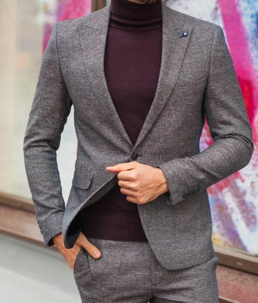Стильный мужской костюм двойка коричневого цвета. Арт.:4-579-3