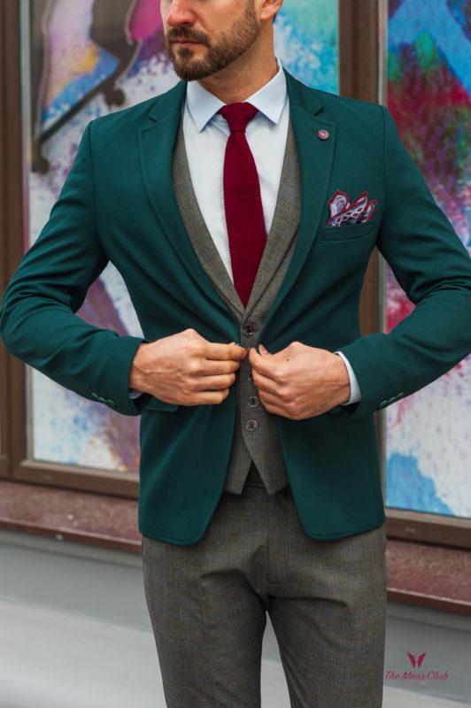 Зеленый мужской пиджак приталенного кроя. Арт.:2-582-4