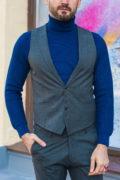 Мужские жилет и брюки серого цвета в клетку. Арт.:4-585-5