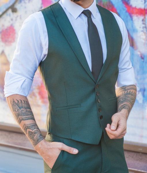 Мужская двойка (жилет и брюки) зеленого цвета. Арт.:4-587-5