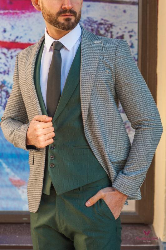 Стильный мужской пиджак серого цвета. Арт.:2-587-6