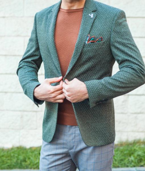Модный мужской пиджак зеленого цвета. Арт.:2-590-1