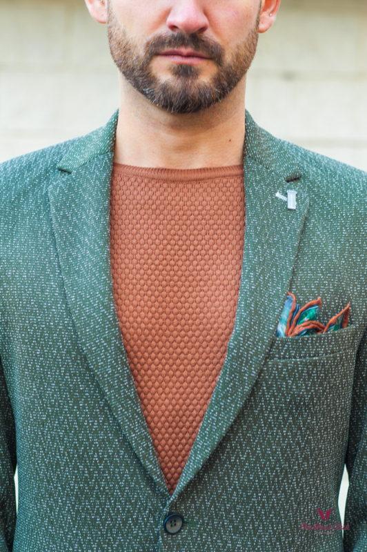 Модный мужской пиджак в зеленом цвете. Арт.:2-590-1