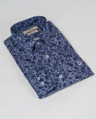 Синяя рубашка с растительным принтом. Арт.:5-504-26