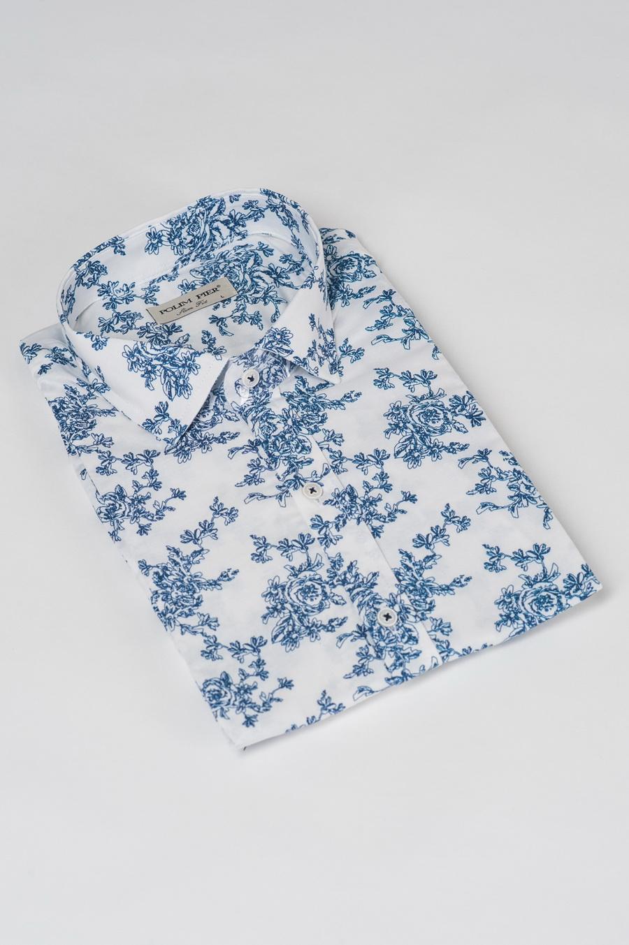 Белая рубашка с синим принтом. Арт.:5-509-8