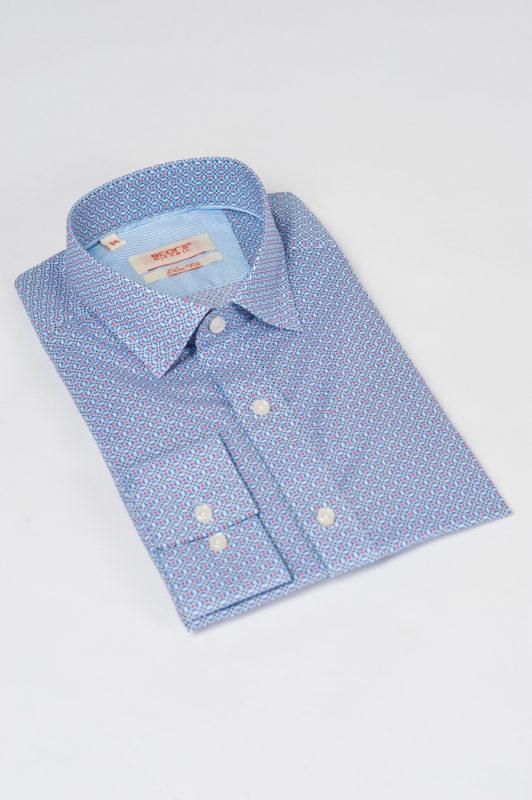 Приталенная рубашка с разноцветным принтом. Арт.:5-525-3