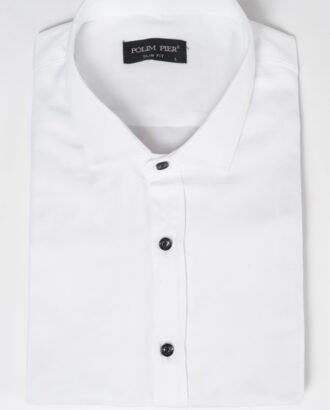 Белая рубашка с воротником-стойкой. Арт.:5-515-8