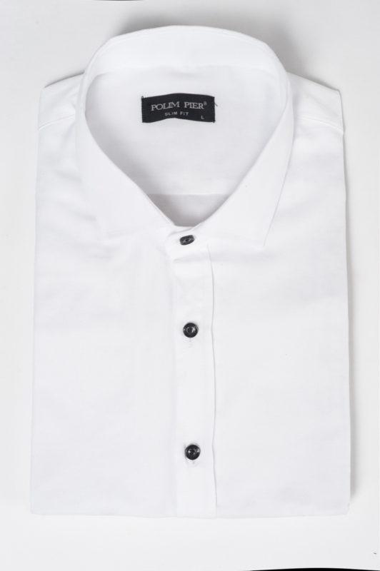 Белая рубашка с черными пуговицами. Арт.:5-514-8