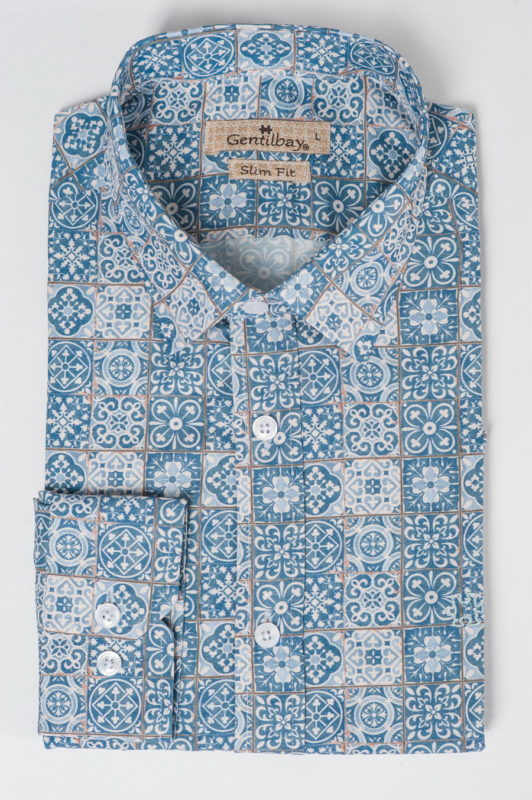Приталенная рубашка с узорчатым принтом. Арт.:5-508-26