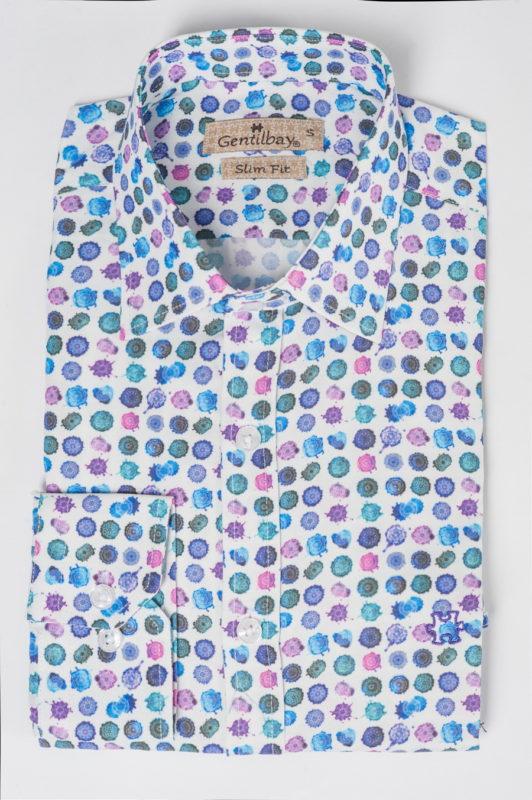Белая рубашка с разноцветным принтом. Арт.:5-510-26