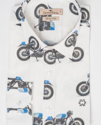 Приталенная рубашка с мотоциклами. Арт.:5-511-26