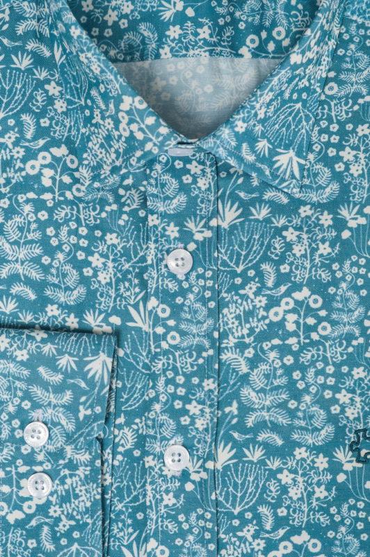 Голубая рубашка с белым принтом. Арт.:5-503-26
