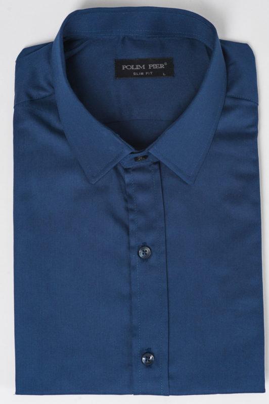 Синяя приталенная рубашка. Арт.:5-501-8