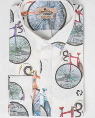 Белая приталенная рубашка с велосипедами. Арт.:5-519-26