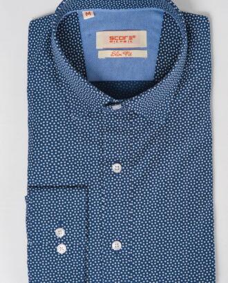 Стильная синяя рубашка с принтом. Арт.:5-524-3