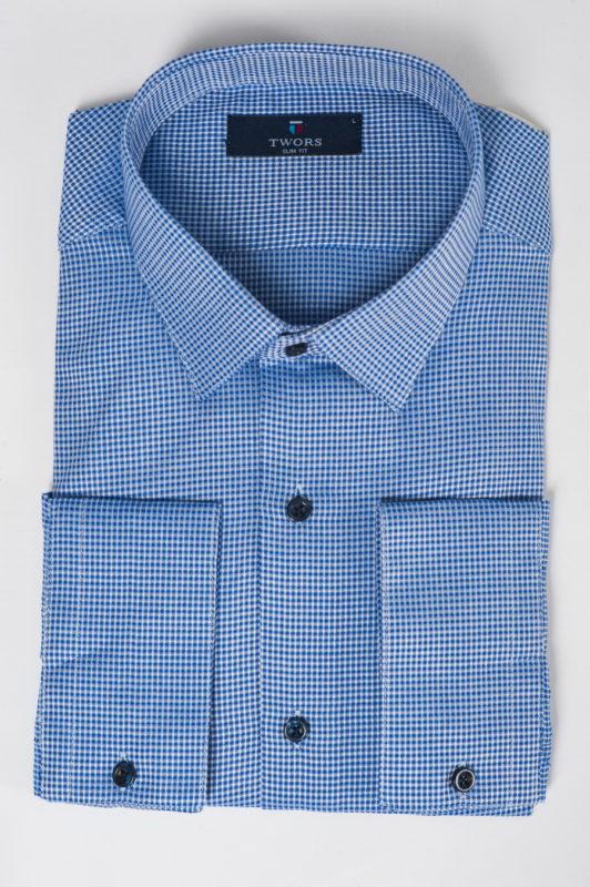 Темно-голубая рубашка с синими пуговицами. Арт.:5-520-12