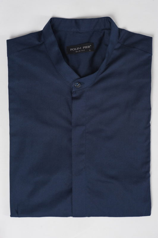 Синяя рубашка с воротником-стойкой. Арт.:5-516-8