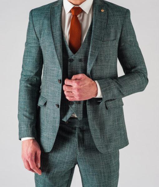 Мужской зеленый костюм-тройка. Арт.:4-601-24