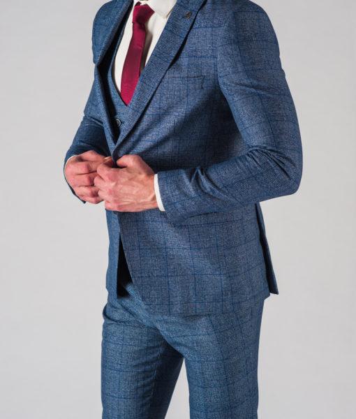 Синий мужской костюм-тройка в клетку. Арт.:4-602-24