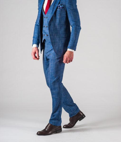Мужской костюм-тройка синего цвета. Арт.:4-603-24