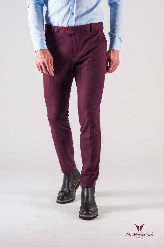 Укороченные мужские брюки цвета бордо. Арт.:6-608-3