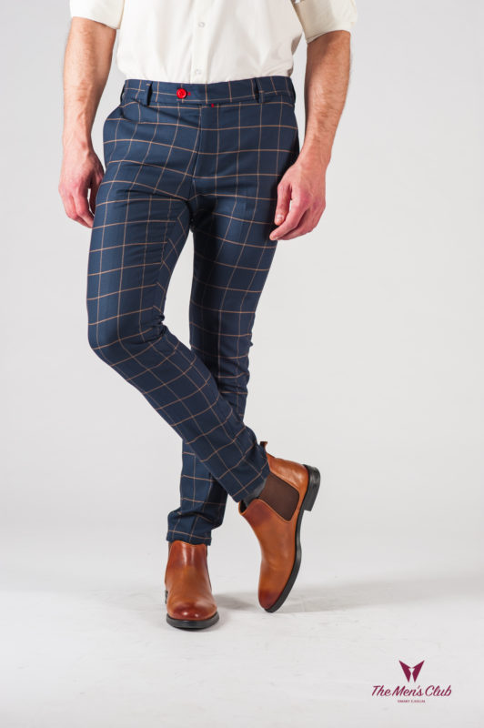 Мужские синие брюки в клетку. Арт.:6-611-3