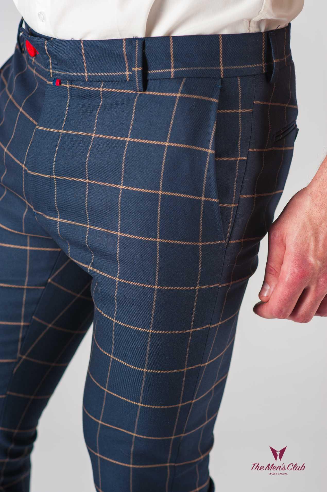 eed13faed4f0 Мужские синие брюки в клетку. Арт.:6-611-3 - Smartcasuals