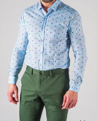 ab1242a82ad34bb Полосатая мужская рубашка с принтом. Арт.:5-612-8 ...