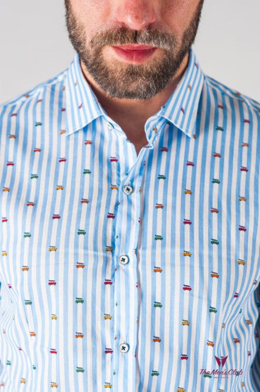 Полосатая мужская рубашка с принтом. Арт.:5-612-8