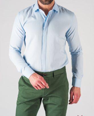 Мужская голубая рубашка слим фит. Арт.:5-613-9