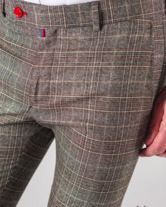 Мужские коричневые брюки в клетку. Арт.:6-615-3