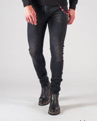 Черные мужские джинсы с потертостями. Арт.:7-616
