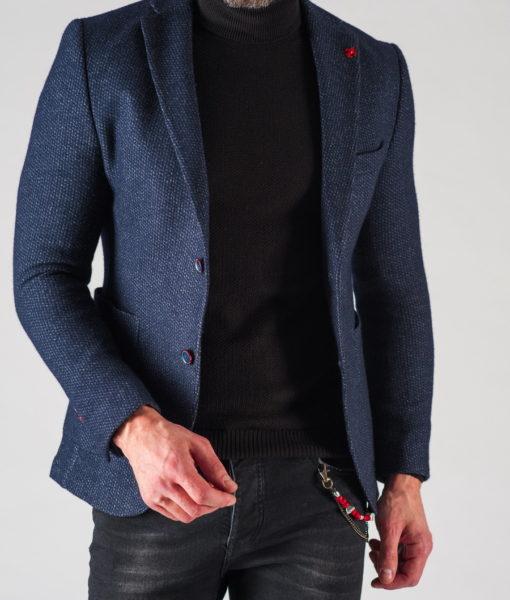 Мужской приталенный пиджак темного цвета. Арт.:2-616-3