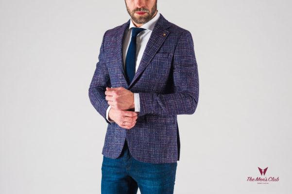 Модный мужской пиджак фиолетового цвета. Арт.:2-618-5