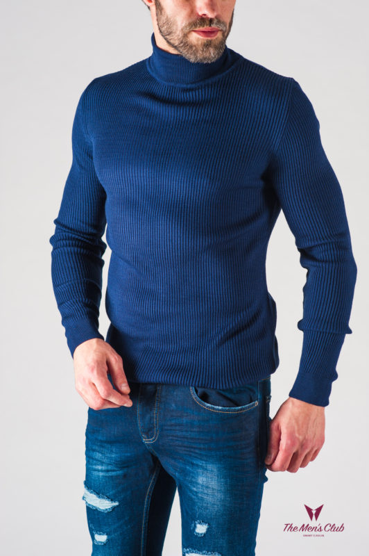 Синяя мужская фактурная водолазка. Арт.:8-626-8