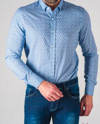 Мужская приталенная рубашка с принтом. Арт.:5-633-3