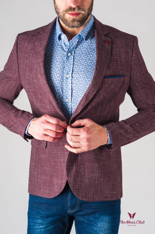 Мужской пиджак с заплатками бордового цвета. Арт.:2-633-2