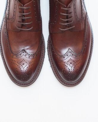 Мужские коричневые брогированные дерби. Арт.:14-602
