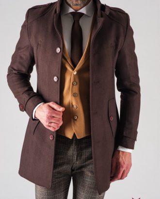 Коричневое мужское пальто super slim. Арт.:1-615-1
