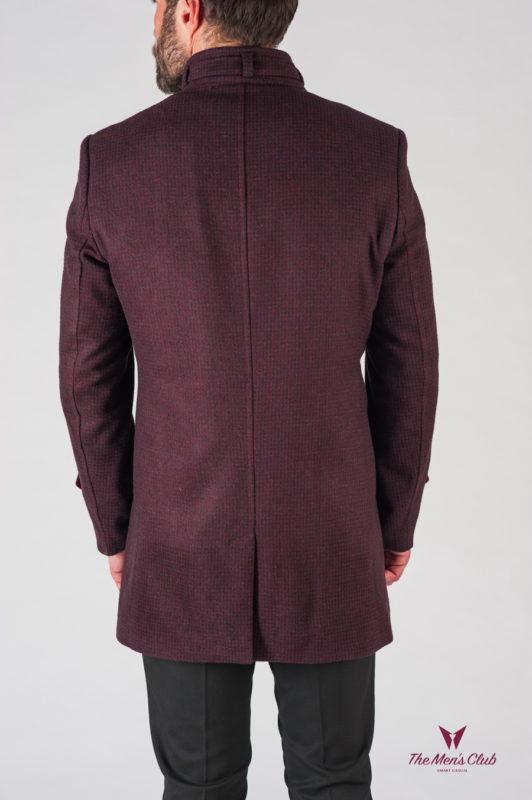 Шерстяное мужское пальто бордового цвета. Арт.:1-604-24