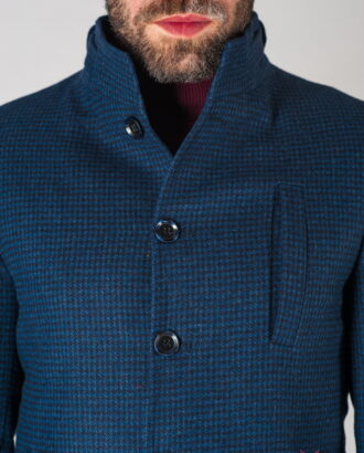 Шерстяное мужское пальто с воротником стойкой. Арт.:1-623-24