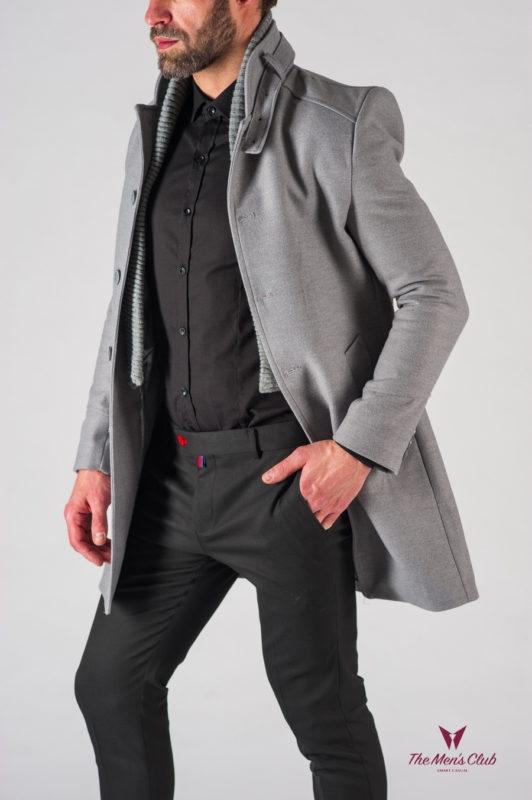 Светлое мужское пальто с воротником стойкой. Арт.:1-605-1
