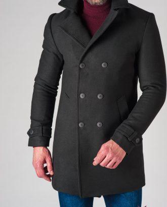 Зимнее мужское пальто черного цвета. Арт.:1-621-10