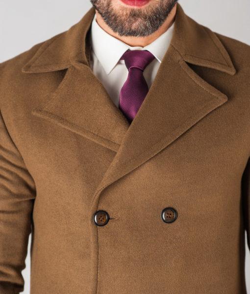 Зимнее мужское пальто горчичного цвета. Арт.:1-611-10