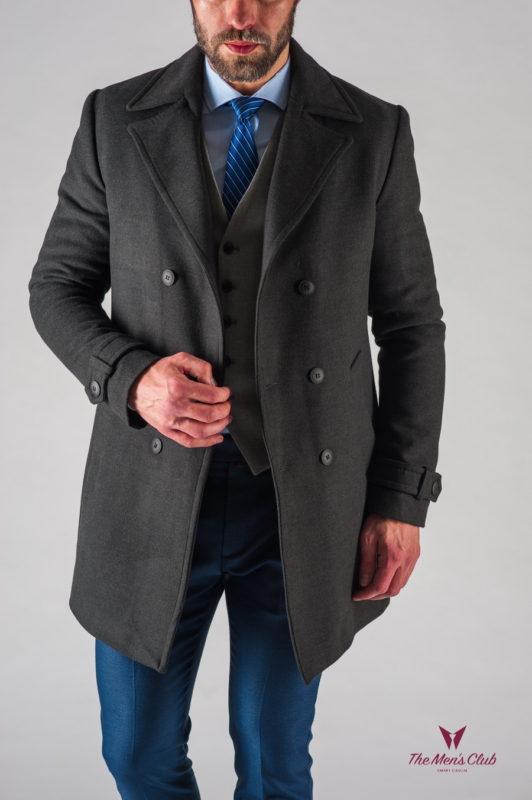 Зимнее мужское пальто из кашемира. Арт.:1-610-10