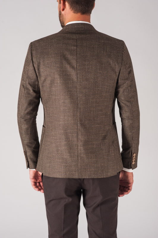 Коричневый мужской пиджак в клетку. Арт.:2-701-5
