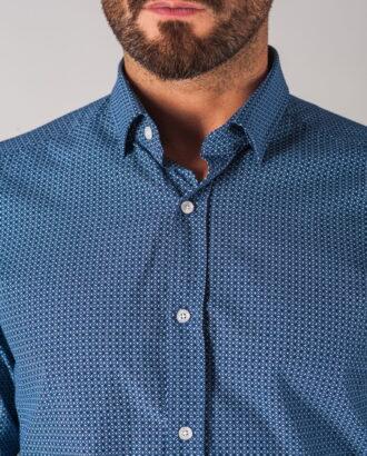 Синяя мужская рубашка с принтом. Арт.:5-702-3